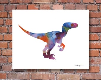 Velociraptor Art Print - Abstract Raptor Dinosaur Watercolor Painting - Wall Decor