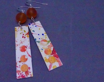 Watercolor Painting Earrings, Paper Earrings, 1st Anniversary Gift, Paint on Paper, Paper Gift