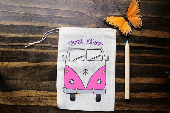 VW Bus Muslin Bags - Art Bag - Pouch - Gift Bag - 5x7 bag - Crystal Pouch - Party Favor - Packaging - Good Vibes