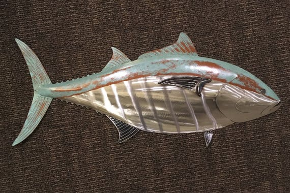Blue Fin Tuna Fish Metal Sculpture 36in long Tropical Beach Coastal Wall Art