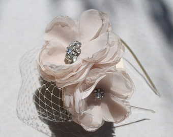 Bridal Blusher  Birdcage Veil French Netting with Headband  Ivory Cream Flowers and  Rhinestone Broosh  for your Wedding