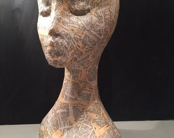 Mannequin head // art head // hat & jewellery stand // Wig stand // bohemian decor // blank for painting