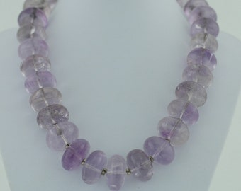 Vintage solid silver necklace with huge purple amethyst beads