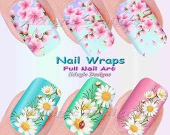 Nail Wraps, Waterslide Full Nail Art Decals, Stickers, Cherry in Bloom or Daisy