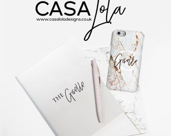 Personalised Marble Phone Case, Gold Marble Personalized Phone Case, Phonecase, Initial Phone Case, Worldwide Shipping