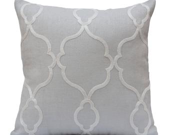 Light Grey Pillow, Throw Pillow Cover, Decorative Pillow Cover, Cushion Cover, Pillowcase, Accent Pillow, Linen, Off White Silk Embroidery
