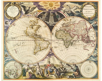 Renaissance map etsy colorful world map antique world map ornate map of the world hemispheres map old world map sun animals color renaissance world map gumiabroncs Image collections