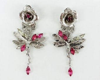 Vintage Kirks Folly Fairy Earrings // signed // faery // nymph // rhinestone // pink // silver plate // roses // wings // floral // 70s