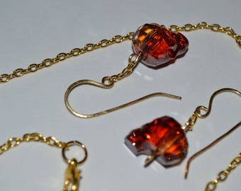 Red Magma Swarovski Crystal Skull Necklace and Earrings