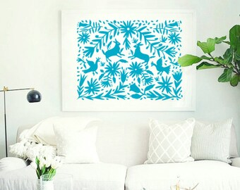 Otomi Mexico, Big Size Print, Otomi indian, Mexican folk art paintings, Otomi pattern, Nursery decor 11x14 in, 16x20in, 20x26in