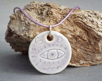Necklace for Women, Ceramic Pendant, Evil Eye Pendant, Boho Necklace, Girlfriend Gift, Evil Eye Jewelry