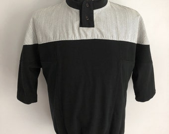 Vintage Men's 80's Striped Shirt, Black, White, Pull Over, Short Sleeve by Cucamonga (M)