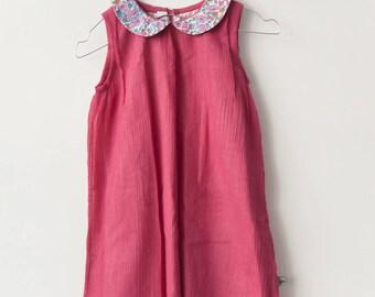 Pink seersucker dress for girl, size 8Y PIECE last! Raspberry seersucker girls dress and Liberty poppy and daisy last! 8 years
