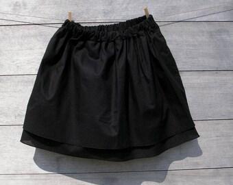 Jupe en voile de coton noir