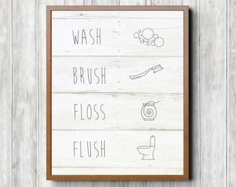 Wash Brush Floss Flush 8 x 10 Printable