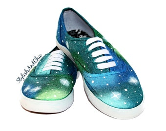 Blue and Green Galaxy Shoes - Hand Painted