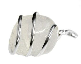 Silver Tone Spiral Tumbled Crystal Quartz Pendant - Silver Tone Spiral Wrapped Tumbled Crystal Quartz Pendant - (TS-109-01)