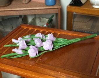Miniature Gladiolus, 2 Stem Bunch, Lavender, Gladiolus With Leaves, Dollhouse Miniature, 1:12 Scale Dollhouse Flowers, Mini Flower Bunch