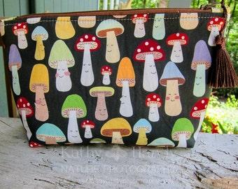 Zippered Pouch   Makeup Bag   Lined Zipper Bag   Cute Mushroom Designer Cotton Fabric   Spoonflower Fabric Makeup Bag   Small Gift Under 20