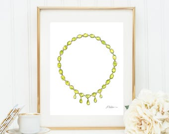 Georgian Necklace Watercolor Rendering in Yellow Gold with Light Green Paste Stones printed on Paper