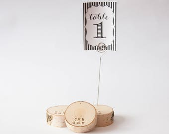 20 personalized rustic wedding table number holder with wire, place card holder, birch wedding table decor,  wedding centerpiece