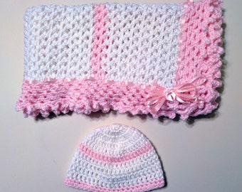 Pink and White Hand Knit Crochet Afghan Baby Blanket