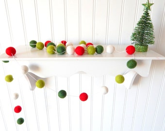 christmas garland christmas felt ball garland pom pom garland christmas decor christmas