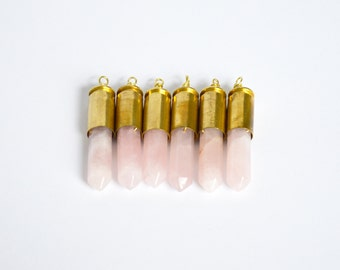 Rose quartz crystal point brass .40mm bullet shell casing pendant necklace / key chain / pendant only