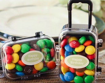 20 Plastic Travel Candy Party Favors Rolling Suitcase Baby Shower Wedding Graduation Gift