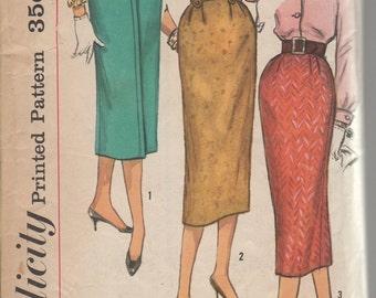 Waist 24-1950's Misses' Skirt Simplicity 2196 Hip 33