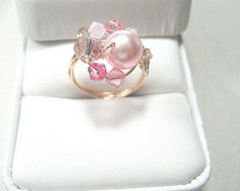 Pink swarovski pearl and crystal wire-wrapped ring
