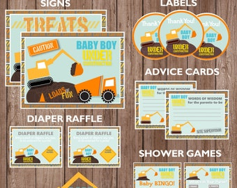 "Baby Boy Under Construction ""EXCAVATOR"" Theme Baby Shower Party Package--Digital Download"