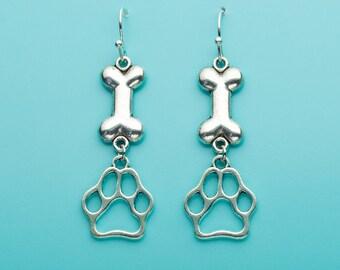 Dog Paw Print Earrings, Dog Bone Earrings, Animal Earrings, Dog Earrings, Dog Gift, Dangle Earrings, Gifts for Her, 105, 673