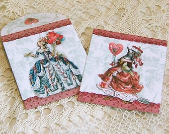 Digital Tea Bag Envelopes, Candy Wrappers- INSTANT Download - Valentine Or Tea Party Favor - Balloon Lady Bird Queen - Two Designs CS50V