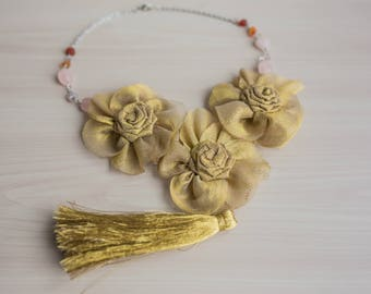 Gold Statement Bib Necklace Tassel Necklace Rosette Statement Necklace Fabric Necklace Fabric Jewelry Textile  Wedding Bridal Necklace