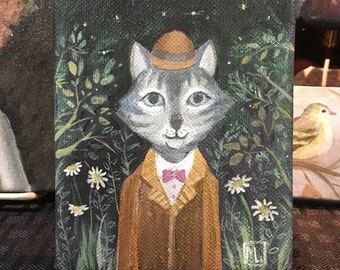 Original Canvas Painting, Cat in a Suit, Cat Lover's Gift 4x5""