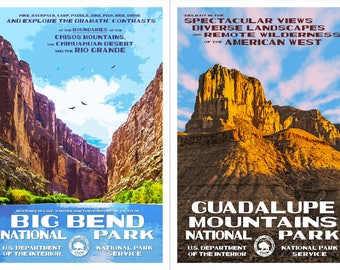 "Texas National Parks -- Big Bend & Guadalupe Mountains -- WPA style poster. 13"" x 19"" Original artwork, signed by the artist. FREE SHIPPING!"