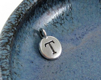 "NEW TierraCast Silver Letter ""T"" Disk Charm *YOU Collection*"