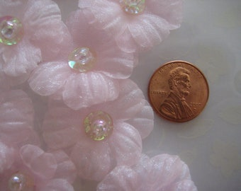 Pink Organza Flower with Iridescent Sequins and Bead Appliques for Embellishments, Sewing Crafts, 20 pieces, 1.25 inches