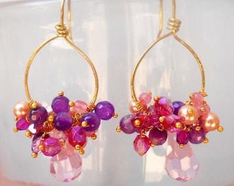 Alcyone gemstone chandelier earrings, wire wrapped hoop earrings, pink cluster dangle earrings, agate swarovski crystal gift for her ooak