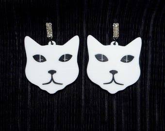 Black & White Evil Kitty Acrylic Earrings with Rhinestone Earring Studs / Posts