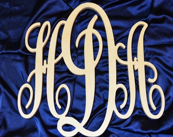 20 x 24 inch Script connected monogram letter, Wooden wall letter, wedding, unfinished