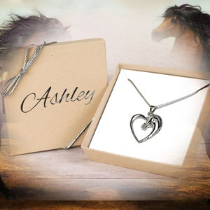 Horse Necklace, Personalized Horse Lover Gift for Her, Heart Necklace Horse Gift Horse Jewelry Horse Pendant Necklace Gift for Animal Lovers
