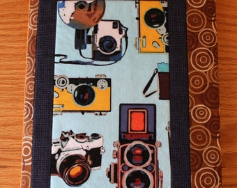Fabric Journal Cover Vintage Cameras Travel Diary Handmade Brown Blue Yellow Refillable
