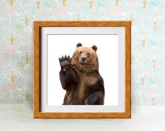 Bear Print, Bear Photography, Bear Poster, Baby Animal Nursery Art Print, Woodland Nursery Decor, Nursery Wall Art, Baby Animal Photo, Bear