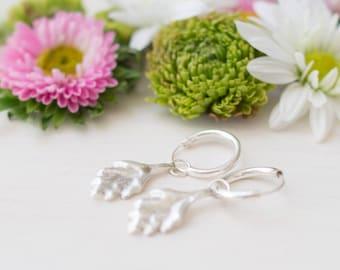 Tiny hoop earrings, leaf earrings, silver earrings, leaf, dangle earrings, gift for her, dainty jewelry, nature jewelry, minimalist earrings