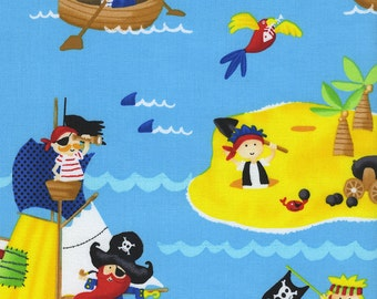OOP HTF 30 inches Pirates At Sea Ocean Sailing Pirate Ship Waves Ahoy Matey Timeless treasures Fabric on Sea Blue