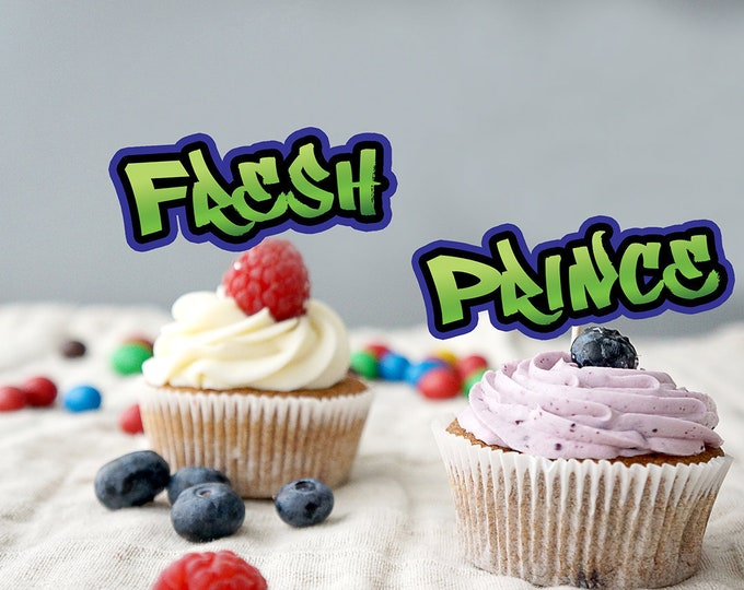 Cupcake toppers, Fresh Prince, Birthday, Baby Shower, Hip Hop, 90s, Graffiti, Digital files ,90s party, HipHop party GRAFFITI, hip hop