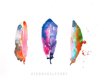 3 Colorful Watercolor Feather Print