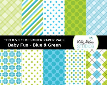 005A Baby Fun Blue and Green - Designer Paper Pack - Digital Elements for Cards, Stationery, Backgrounds, Paper Crafts and Products